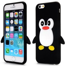 Zwart pinguin siliconen hoesje iPhone 6 / 6s