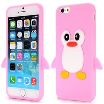 Roze pinguin siliconen hoesje iPhone 6 / 6s