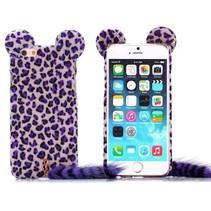 Paars luipaard pluche hoesje iPhone 6 / 6s