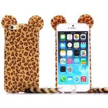Bruin luipaard pluche hoesje iPhone 6 / 6s