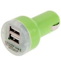 Dual USB Autoadapter - Groen