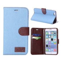 Lichtblauw Jeans bekleed Booktype  hoesje iPhone 6(s) Plus