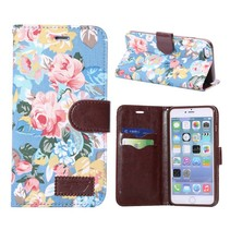 Bloemendesign blauw Booktype  hoesje iPhone 6(s) Plus