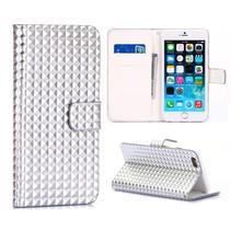 Zilveren studs Bookcase hoes iPhone 6(s) Plus