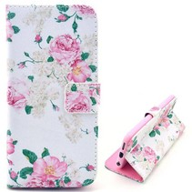 Roze bloemetjes Bookcase hoes iPhone 6(s) Plus
