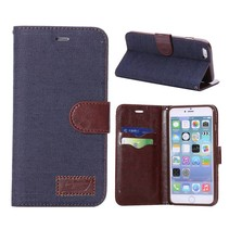 Donkerblauwe jeans Bookcase hoes iPhone 6(s) Plus