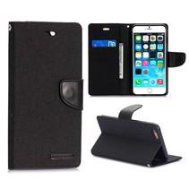 Canvas zwarte Bookcase hoes iPhone 6(s) Plus