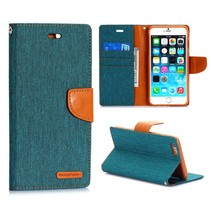 Canvas groene Bookcase hoes iPhone 6(s) Plus
