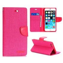 Canvas roze Bookcase hoes iPhone 6(s) Plus