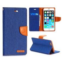 Canvas blauwe Bookcase hoes iPhone 6(s) Plus