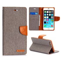 Canvas grijze Bookcase hoes iPhone 6(s) Plus