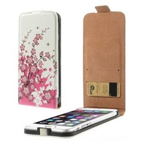 Roze bloem Flip Case hoes iPhone 6(s) Plus