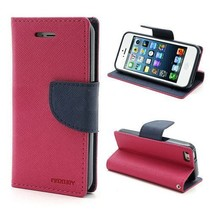 Diary roze / blauw Bookcase hoes iPhone 6(s) Plus