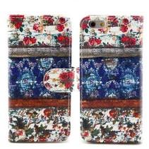 Vintage bloemetjes Bookcase hoes iPhone 6(s) Plus
