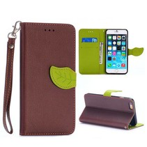 Bruin leaf Bookcase hoes iPhone 6(s) Plus