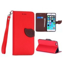 Rood leaf Bookcase hoes iPhone 6(s) Plus