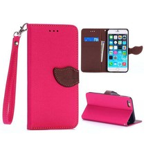 Roze leaf Bookcase hoes iPhone 6(s) Plus