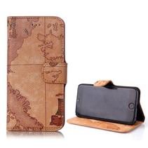 Wereldkaart Bookcase hoes iPhone 6(s) Plus