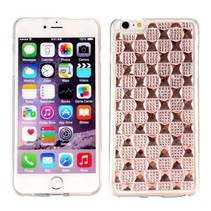 Roze diamant grid TPU hoesje iPhone 6(s) Plus