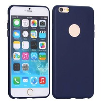 Blauw logo-opening siliconen hoes iPhone 6(s) Plus
