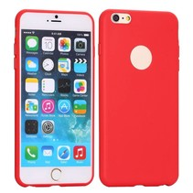 Rood logo-opening siliconen hoes iPhone 6(s) Plus
