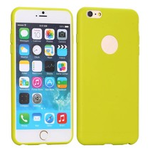 Groen logo-opening siliconen hoes iPhone 6(s) Plus