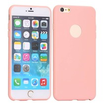 Roze logo-opening siliconen hoes iPhone 6(s) Plus