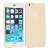 Beige logo-opening siliconen hoes iPhone 6(s) Plus