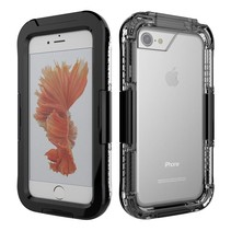 Zwart / Transparant Waterdicht Hoesje iPhone 7