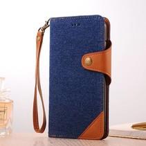 Blauw / Bruin Jeans Bookcase Hoesje iPhone 7