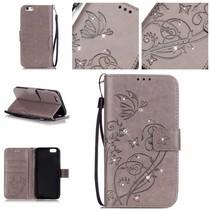 Bloemen en Diamantjes Bookcase Hoesje iPhone 7