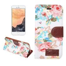 Wit Bloemen Bookcase Hoesje iPhone 7