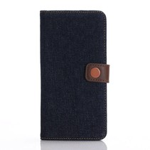 Donkerblauw Jeans Bookcase Hoesje iPhone 7 Plus