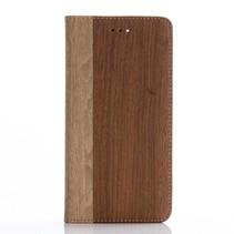Walnoot Houtdesign Bookcase Hoesje iPhone 7 Plus