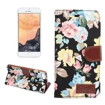 Bloemen Bookcase Hoesje iPhone 7 Plus - Zwart