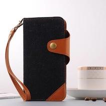 Zwart / Bruin Jeans Bookcase Hoesje iPhone 7 Plus