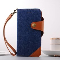 Donkerblauw Jeans Bookcase Hoesje iPhone 7 Plus