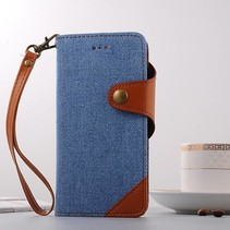 Blauw / Bruin Jeans Bookcase Hoesje iPhone 7 Plus