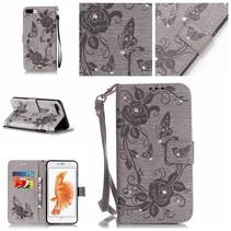 Grijs Vlinder en Diamantjes Bookcase Hoesje iPhone 7 Plus