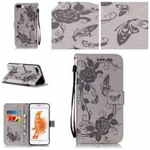 Grijs Bloemen en Vlinder Bookcase Hoesje iPhone 7 Plus