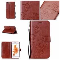 Bruin Bloem en Vlinder Bookcase Hoesje iPhone 7 Plus