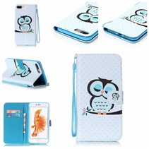 Slapende Uil Bookcase Hoesje iPhone 7 Plus