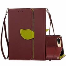 Bruin Blad Design Bookcase Hoesje iPhone 7 Plus