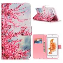 Roze Bloemen Bookcase Hoesje iPhone 7 Plus