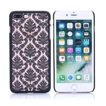 Zwart Bloemen Structuur Hardcase Hoesje iPhone 7 Plus