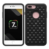 Zwart Diamantjes Grid Hybrid Hoesje iPhone 7 Plus