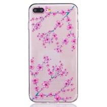 Roze Bloemen TPU Hoesje iPhone 7 Plus