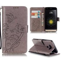 Grijs Bloem en Vlinder Bookcase Hoesje LG G5 / G5 SE
