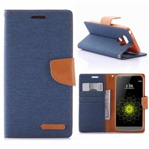 Diary Series Blauw Stoffen Bookcase Hoesje LG G5 / G5 SE