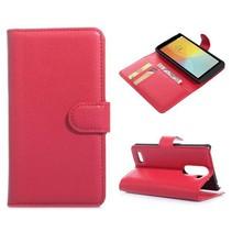 Rode lychee Bookcase hoes LG L Bello / L80 Plus